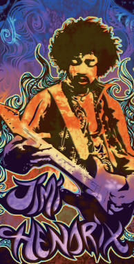 Jimi Hendrix Fire & Ice Beach Towel